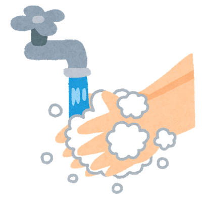 手を石鹸で洗う